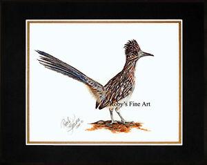 Matted-034-Roadrunner-034-Bird-Art-Print-8-034-x10-034-Mat-Giclee-by-Realism-Artist-Roby-Baer