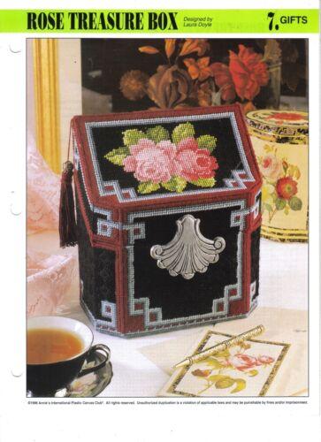 Rose Treasure Box  ~   plastic canvas pattern