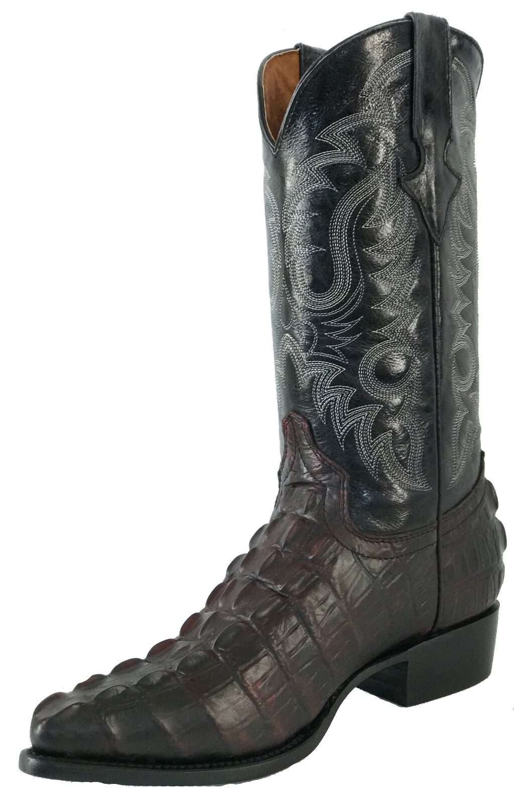 Men's New Leather Crocodile Tail Design Rodeo Western Cowboy Boots J Toe Cherry