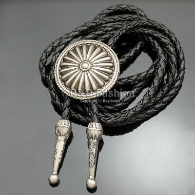 New Top Fashion Vintage Silver Sun Obsidian Stone Leather Bolo Unique Neck Tie