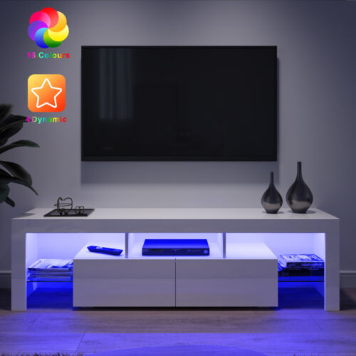Modern TV Unit Cabinet Stand Entertainment Living Room Set MDF Gloss Doors LED