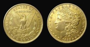 COPIE-Piece-plaquee-OR-GOLD-Plated-Coin-USA-Morgan-Dollar-1885