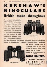 1938 ADS KERSHAW THEATRE GLASSES BINOCULARS PICKARD CAMERA SOHO REFLEX