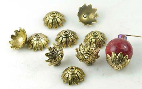 10 Antique Gold Pewter Petal Caps 14mm Beads