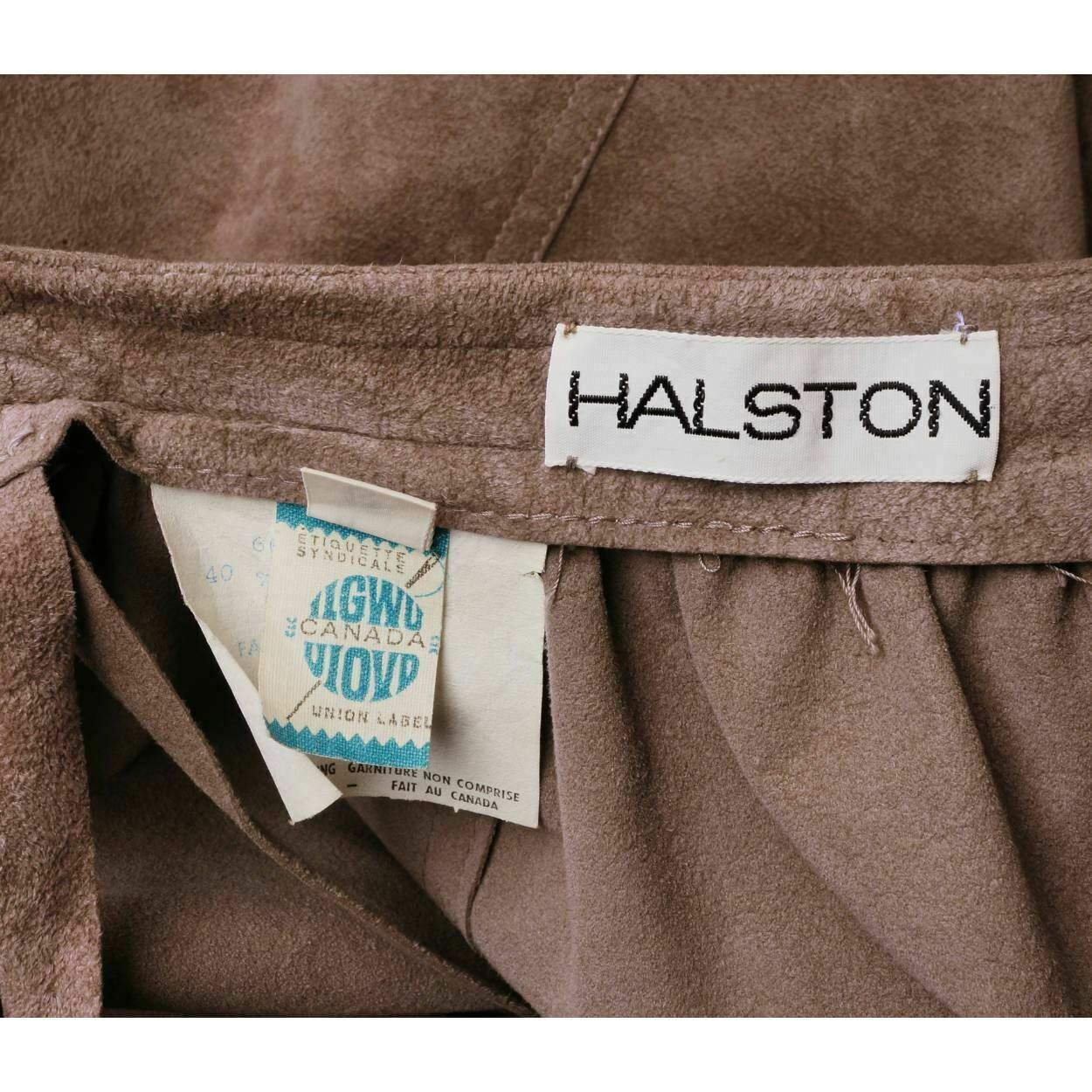 Vintage 1970s Halston Ultrasuede Taupe Maxi Skirt - image 4