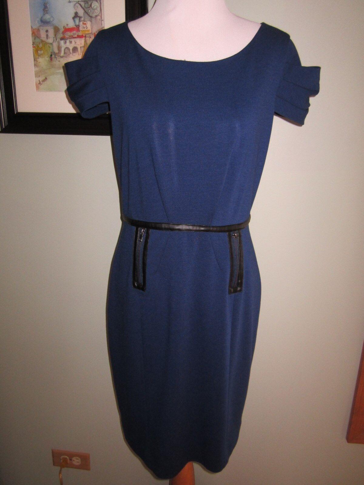 Chequer Navy Blau schwarz Leather Trim Zippers Career Dress Größe 8