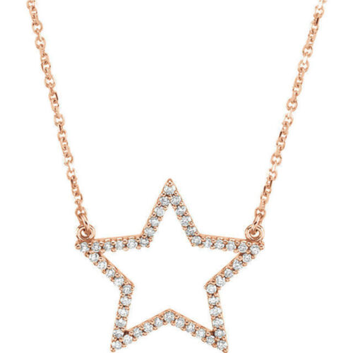 "Diamond Star 16"" Necklace In 14K Rose Gold 14 ct. tw."
