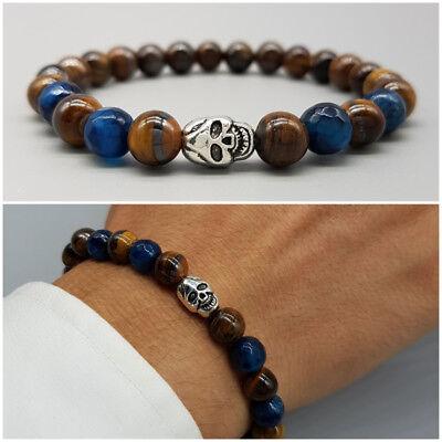 699be09043 Bracciale uomo pietre dure teschio con pietra agata occhio di tigre  braccialetto | eBay