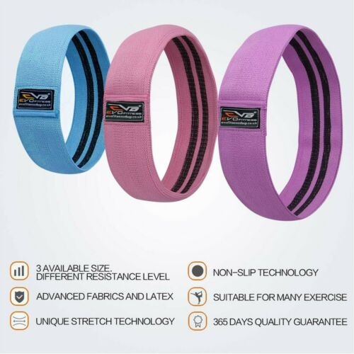 EVO Ladies Fabric Resistance Bands Elastic Exercise /& Expanders HIP CIRCLE Glute