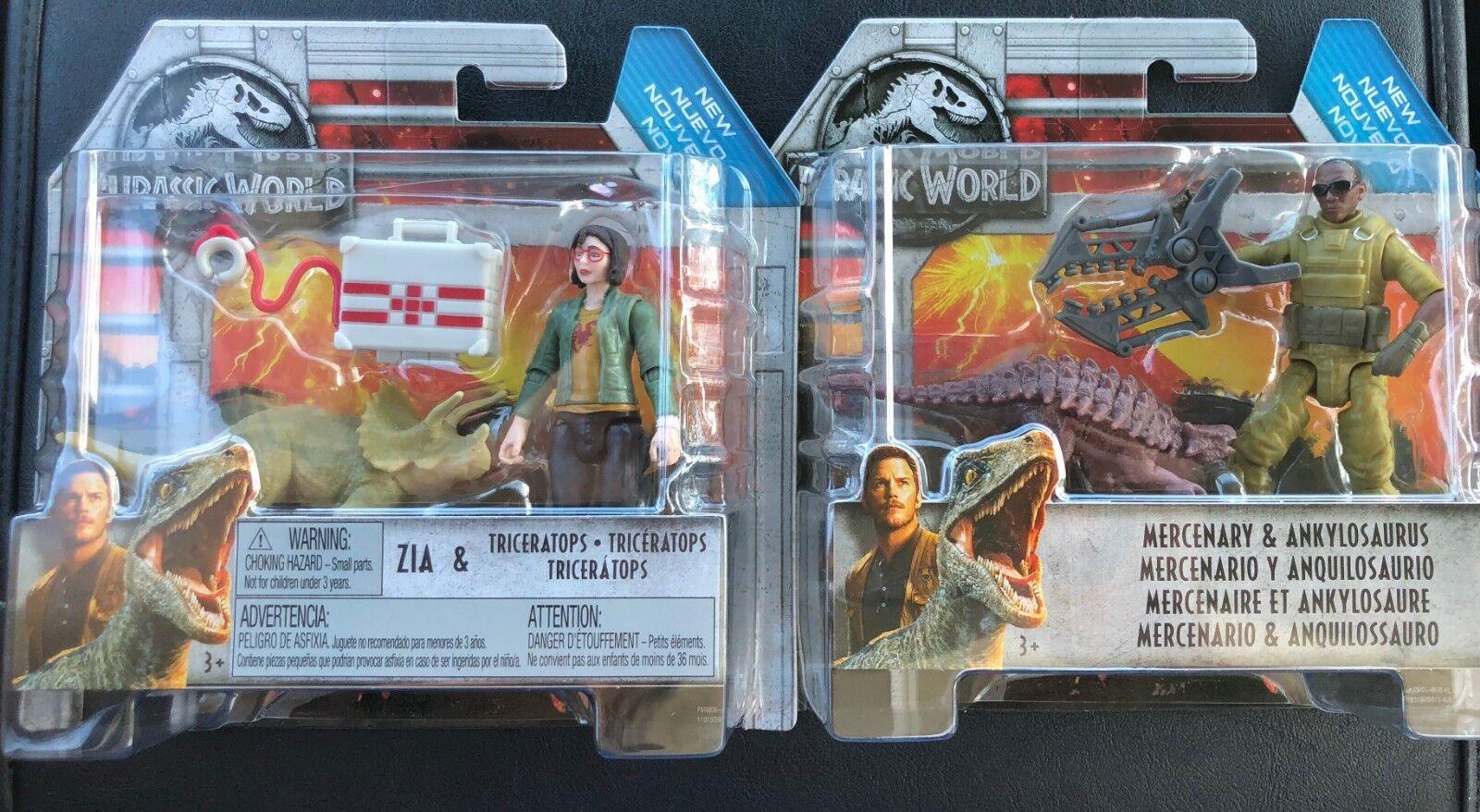 Jurassic World World World Fallen Kingdom Lot Zia Triceratops Mercenary Ankylosaurus FMM00 4a5b63