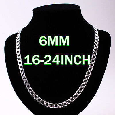 Wholesale  jewelry COOL Mens/boy 4-12MM Solid 925Silver Chain Necklace 16-24""