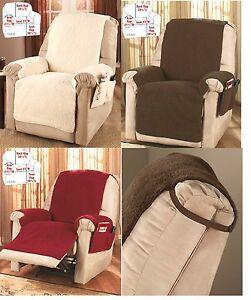 Image is loading Faux-Sherpa-Fleece-recliner-chair-slip-cover-with- & Faux Sherpa Fleece recliner chair slip cover with 4 magazine ... islam-shia.org