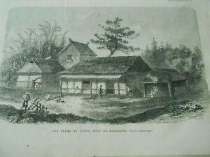 Glorieux Gravure 1866 - Une Ferme Au Japon Près De Kanagawa