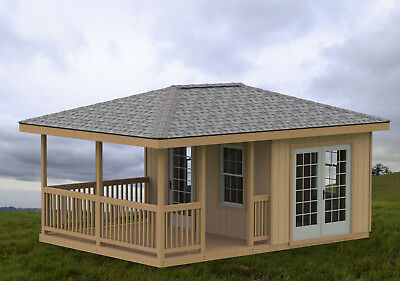 14 X 20 Partially Enclosed Gazebo Man Cave She Shed Hip Roof Building Plans Ebay