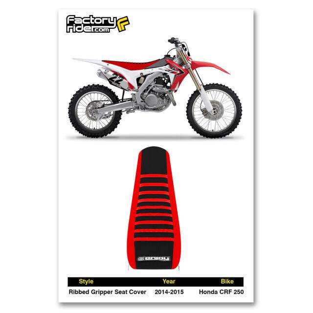HONDA Ribbed Gripper Seat Cover Fits CRF250R 14-17 CRF450R 13-16 Black//Black//Red