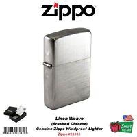 Zippo Linen Weave Lighter (Silver, 5 1/2x3 1/2-cm) Cigars and Tobacco Accessories