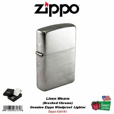 Zippo Linen Weave Lighter, Brushed Chrome, Genuine Windproof #28181