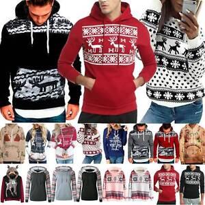 Herren Weihnachten Pullover Sweatshirt Langarm Xmas Weihnachtspulli Oberteile