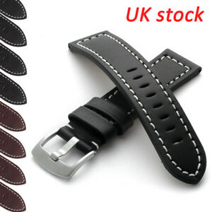 Genuine-Leather-Watch-Strap-Band-Brushed-Buckle-18-20-22mm-24mm-Men-039-s-Women-039-s-UK