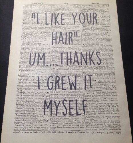 Hair Quote Print Vintage Dictionary Page Picture Wall Art Funny Hairdresser