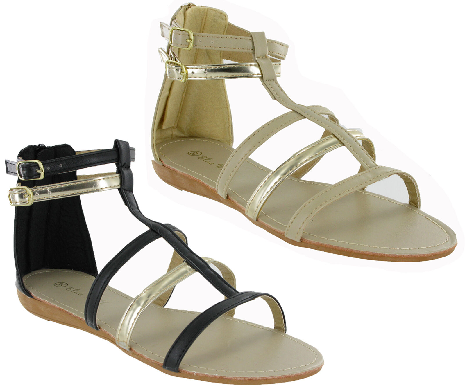 Gladiator Open Toe Flip Flop Summer Buckle Small Wedge Womens Summer Flop Sandals UK3-9 4fbfde