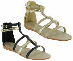 0feb05f5c75 Gladiator Open Toe Flip Flop Buckle Small Wedge Womens Summer ...