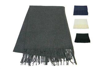 prezzo più basso 89058 31189 Dettagli su Sciarpa pashmina misto lana battuta tinta unita uomo donna nera  bianca blu grigi