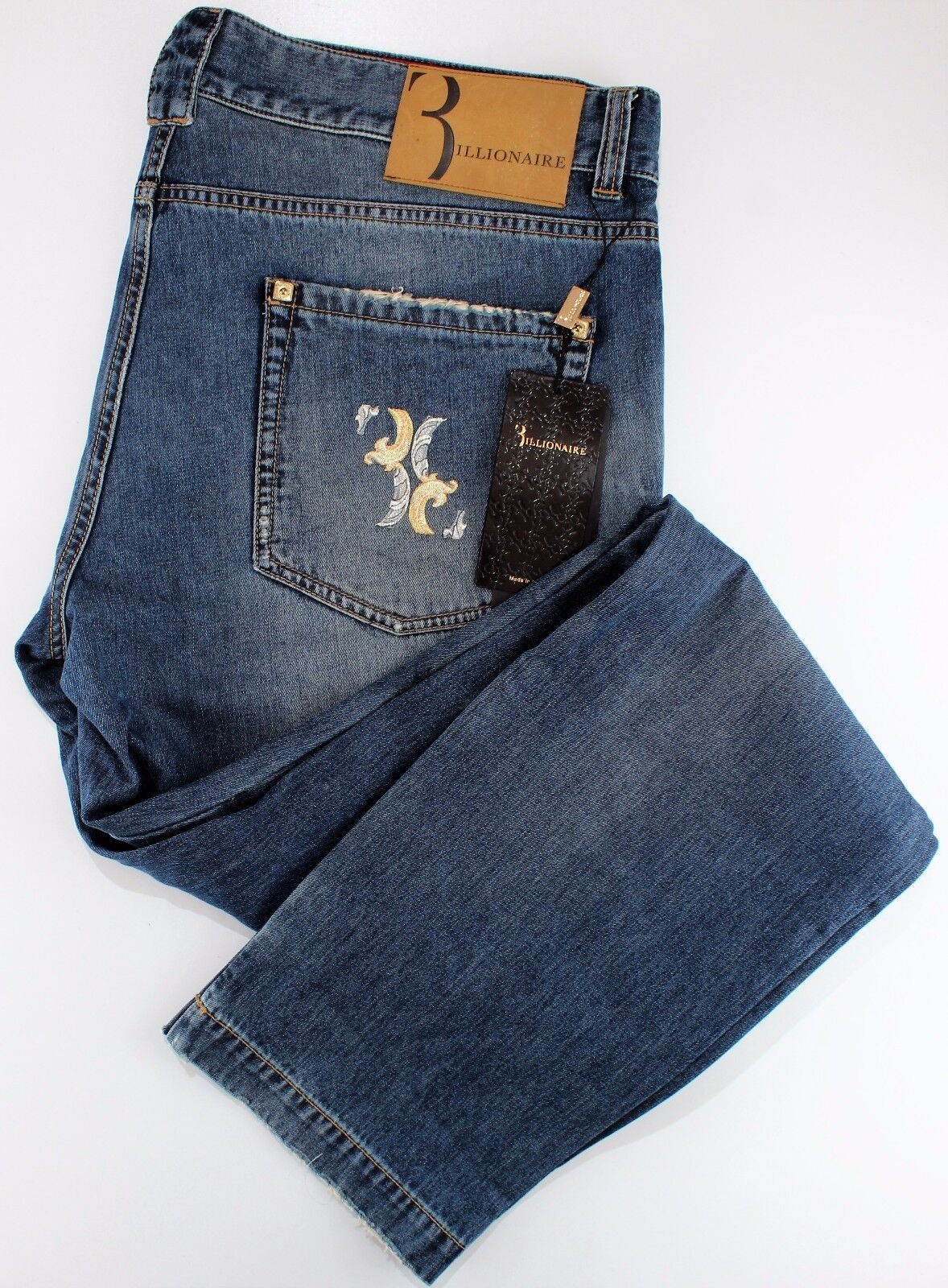 NWT 790  BILLIONAIRE COUTURE JEANS embroidered bluee cotton luxury  us 42