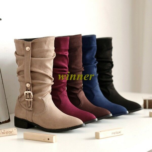 2017 New Womens Ladies High Heel shoes Winter Mid Calf Wedge Boots US All Size