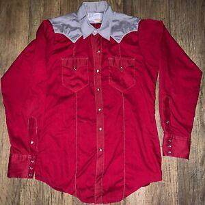 ROCKMOUNT-RANCH-Wear-Tru-West-Western-Pearl-Snap-Shirt-Men-039-s-Red-With-Eagle