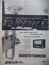 PUBLICITÉ 1958 DUCRETET THOMSON TÉLÉVISEUR EN ORTHOVISION RÉCEPTEUR RADIO