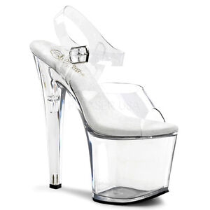 cdef8d6811f PLEASER Sexy Clear Platform Ankle Strap 7 1 2