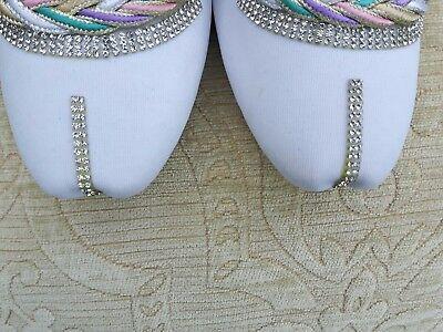 Las señoras de la India Blanco Boda Fiesta Khussa tamaño del zapato 7