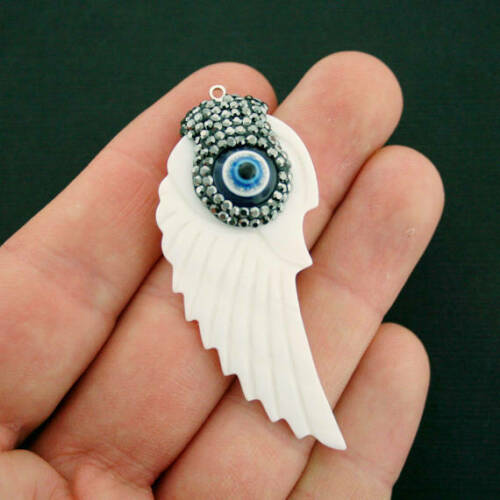 SC6975 Large Wing Charm with Evil Eye Natural Shell Rhinestone Enamel Evil Eye