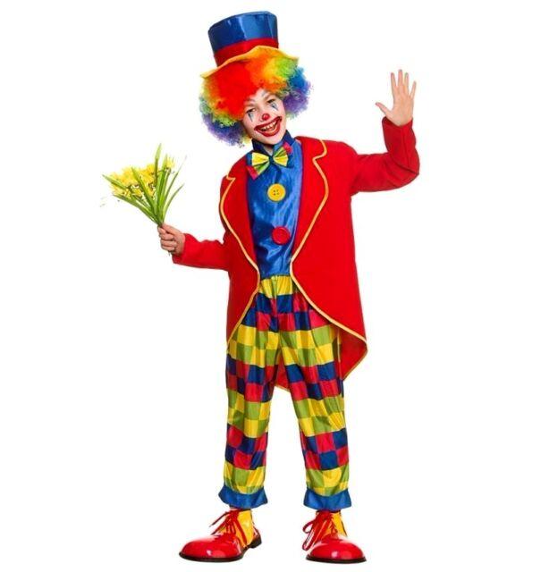 Child Carnival Clown Fancy Dress Costume Circus Jester Kids Boys Girls New