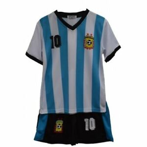 Argentina Football Summer Shorts Boys Outdoor New Girls Top PE Kit Set Size 4-13