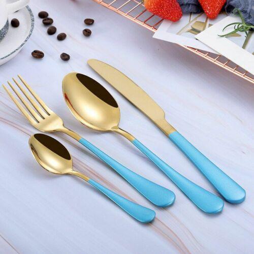 Dinnerware Set Portable Stainless Steel Black Gold Cutlery Western Spoons Knives