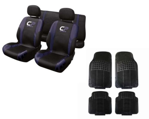 Universal Black and Blue Racing Sport Car Seat Cover 9 Pce Rubber Mats Set