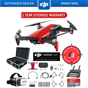 DJI-Mavic-Air-Flame-Red-Drone-Deluxe-Fly-Case-amp-Warranty-Extension-Bundle