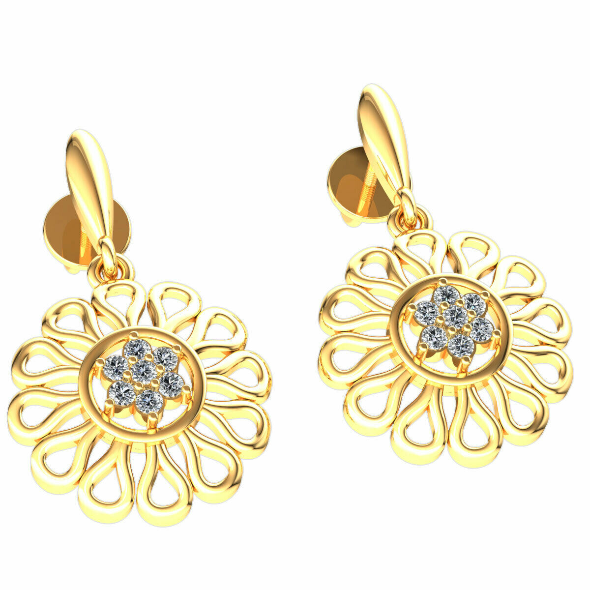 Natural 0.1carat Round Cut Diamond Ladies Flower Dangle Earrings 14K gold