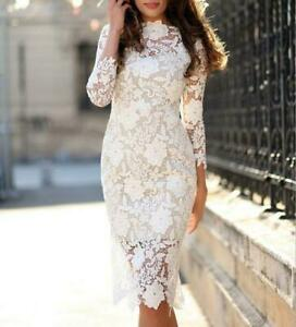 Vogue-Womens-White-Lace-Bodycon-Formal-Evening-Party-Dress-Cocktail-Long-Sleeve