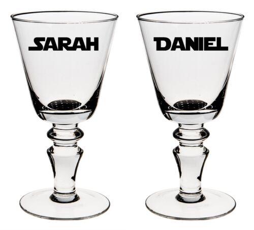 2 x personalised name wine glass//mug//cup vinyl stickers.. star wars