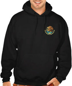 New Men/'s Mexico Seal Chest Black Hoodie Sweater Mexican Pride Flag Snake Aztec