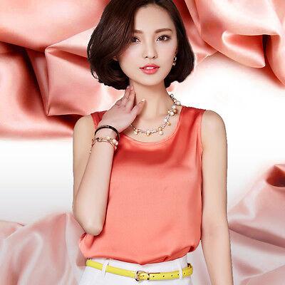 Ladies Satin Silk Vest Sleeveless Smooth Tank Top Sling Shirt Sun-top Oversize