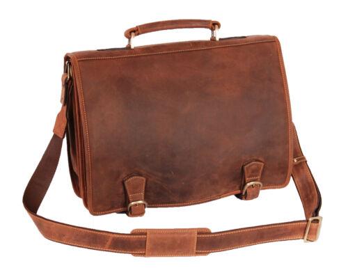 VALIGETTA vera pelle marrone vintage effetto anticato Laptop File Borsa Business Ufficio