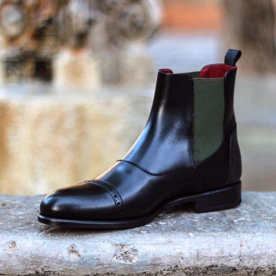 Hecho a Mano Cuero Negro Genuino Estilo Puntera puente Formales Informales de Vestir botas
