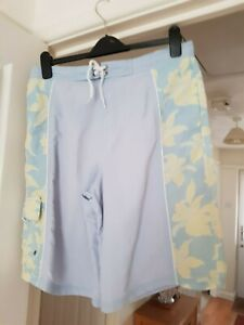 Men S Austin Reed Pale Blue Long Swim Board Shorts Size M Good Condition Ebay