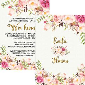 Einladungskarten Hochzeit Hochzeitskarten Vintage Rosa Creme Mit