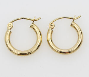 14K-Yellow-Gold-2mm-Thick-Small-Classic-Polished-Hinged-Hoop-Earrings-11mm-7-16-034