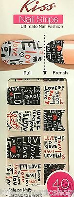 Kiss Nail Stick on Applique Strips French or Full 40 Strips # DMT 172 Love Love
